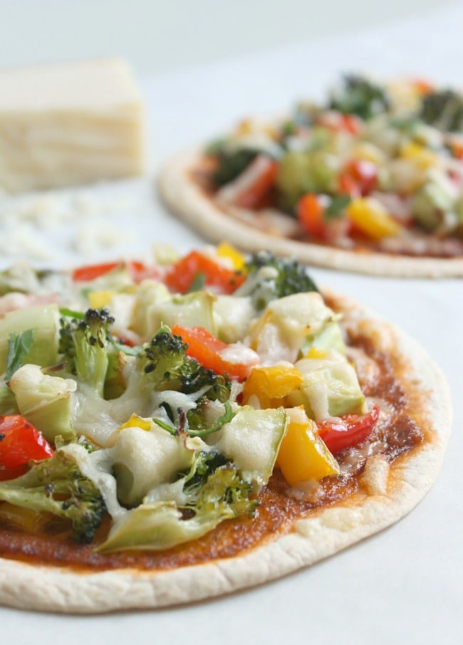 Italian-style roasted vegetable tostadas