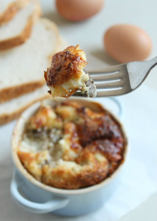 Savoury bread puddings with garlic mushrooms and ricotta