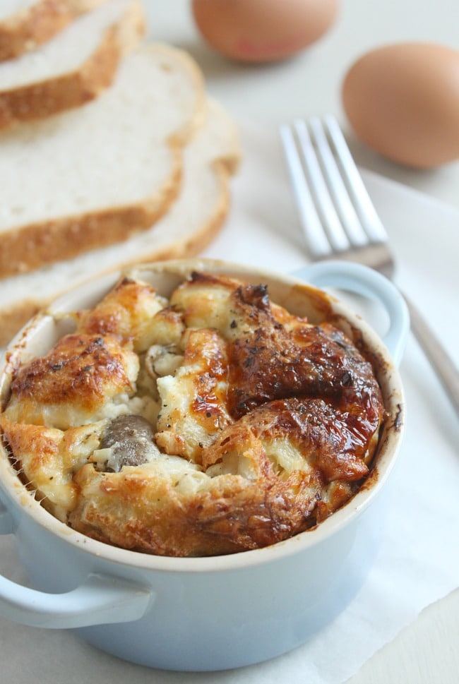 Savoury bread puddings with garlic mushrooms and ricotta