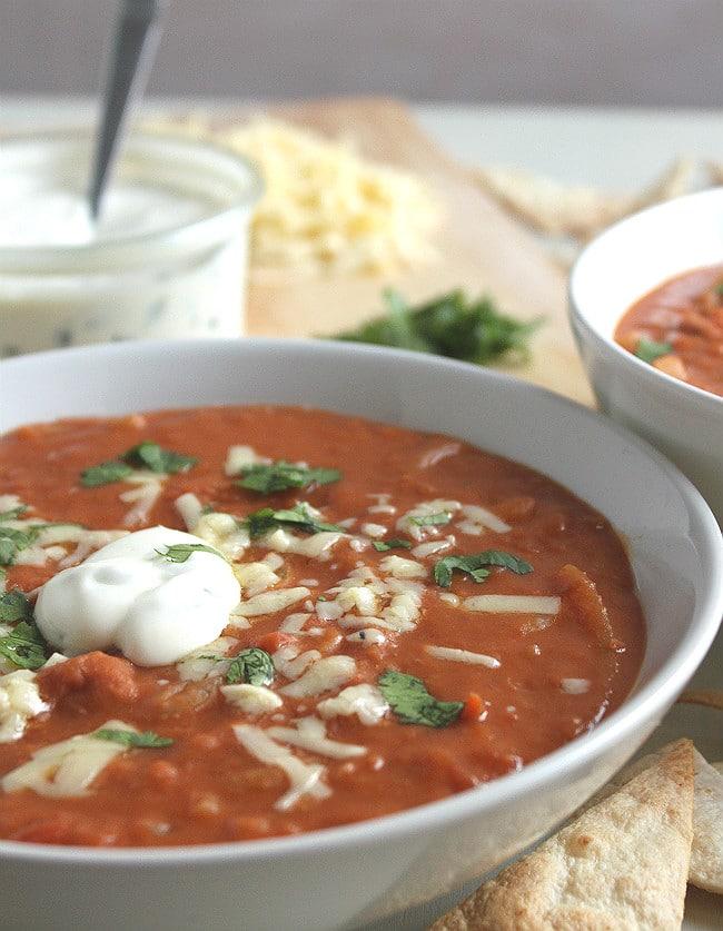 Veggie nacho soup