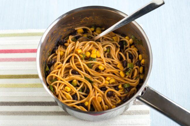 Enchilada noodles in a saucepan