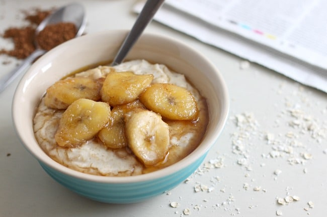 Coconut oats with brown sugar bananas