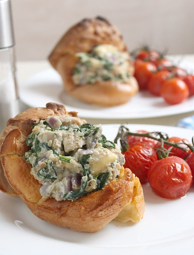 Creamy mushroom an brie stuffed Yorkshire puddings