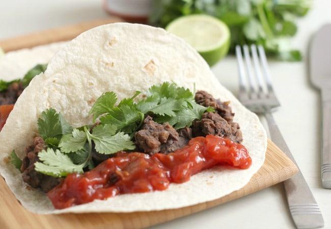 Lentil and black bean tacos