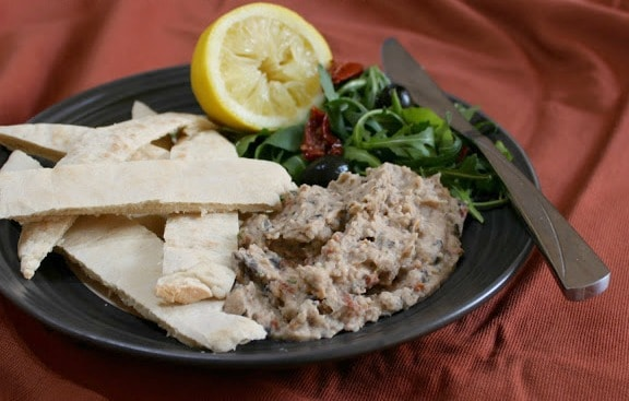Mediterranean white bean pate with sun-dried tomatoes and olives