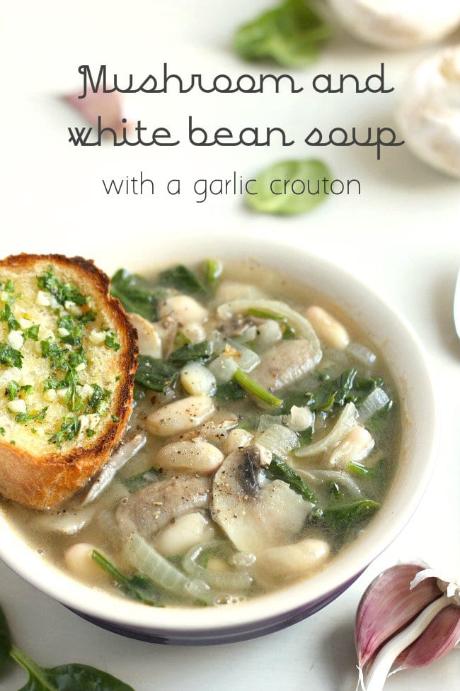 Mushroom and white bean soup with garlic crouton