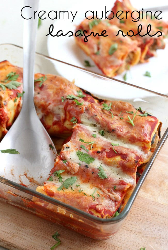 Creamy aubergine lasagne rolls