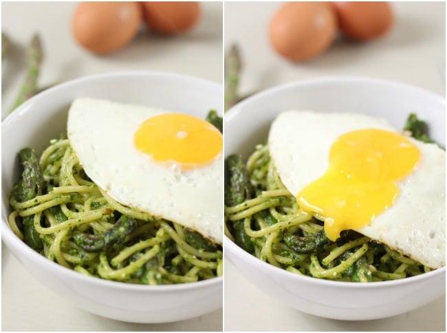 Asparagus spaghetti with a fried egg - simple, cheap, delicious!