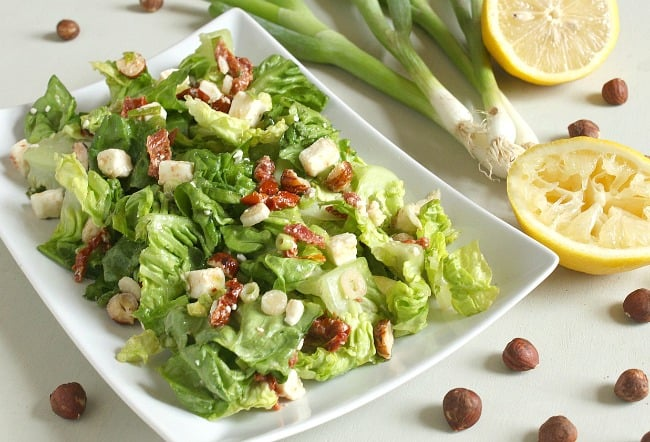 Baby gem salad with hazelnuts and sun-dried tomatoes