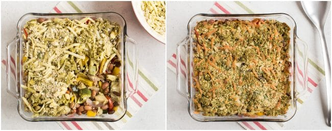 Collage showing bean and vegetable crumble before and after baking