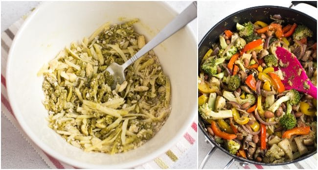 Collage showing cheesy pesto crumb and cooked vegetables in a pan