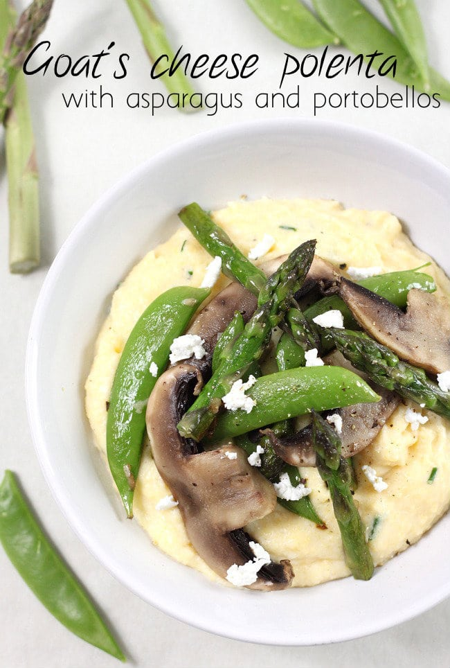 Goat's cheese polenta with asparagus and portobellos - a big bowl full of comfort!