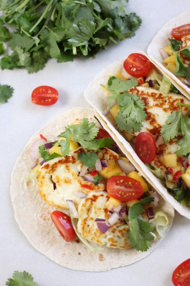 Grilled halloumi tacos with mango salsa. These are so light and fresh!