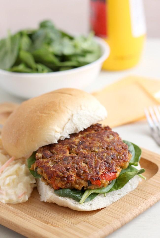 Cheesy lentil burgers