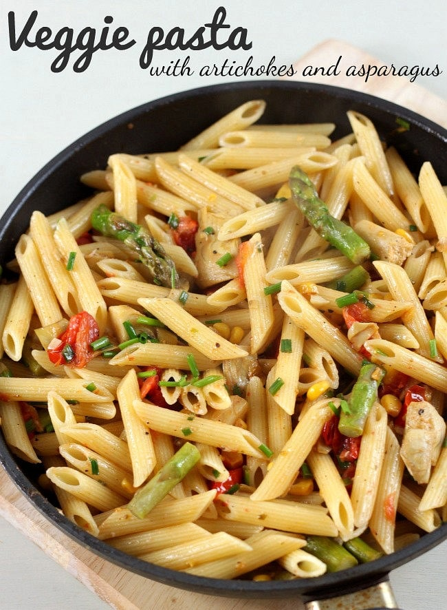 Veggie pasta with artichokes and asparagus. If you know anyone that thinks veggies on their own have no flavour - THIS is the recipe you need to make for them!!
