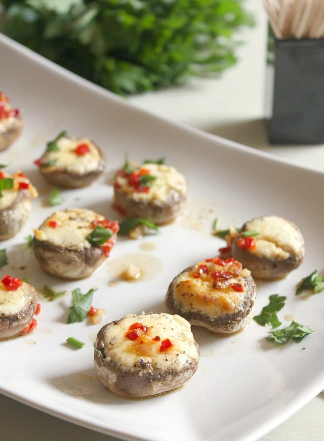 Boursin stuffed mushrooms in chilli garlic butter