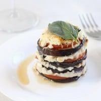Cheesy aubergine stacks