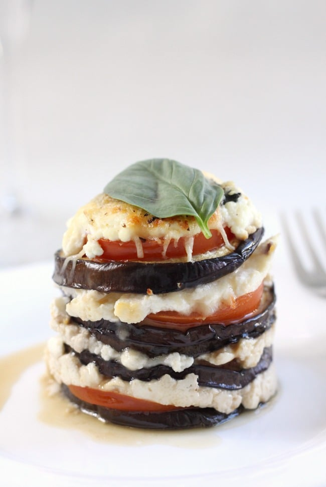 Cheesy aubergine stacks - an easy but elegant appetiser!