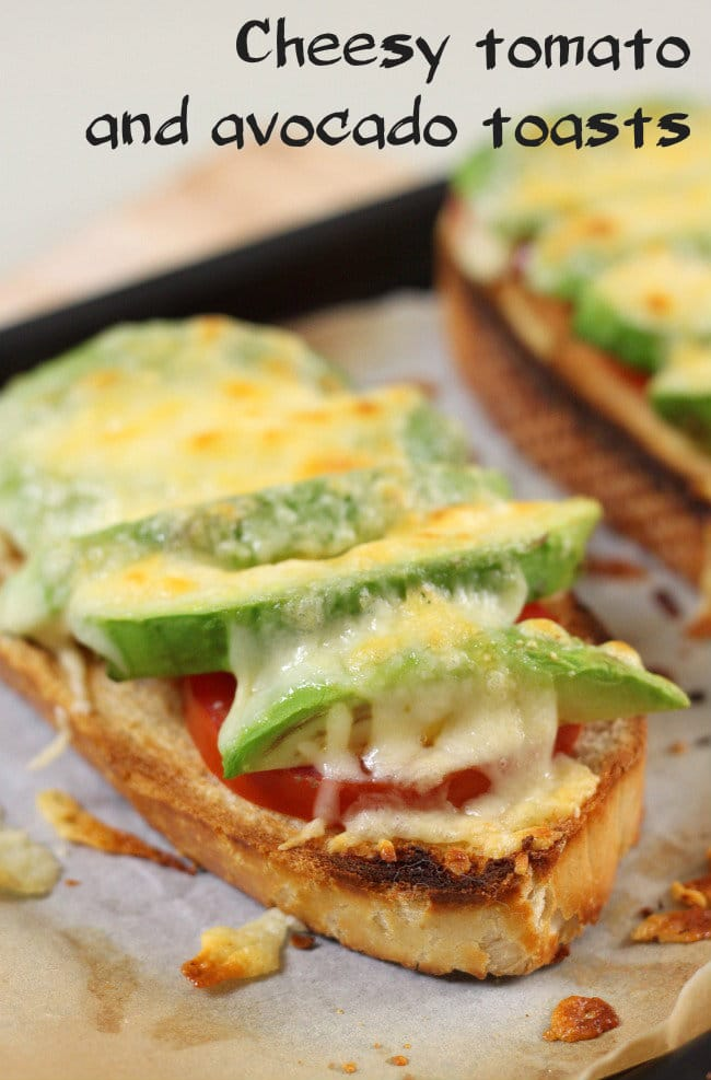 Cheesy tomato and avocado toasts - like cheese on toast, but infinitely better