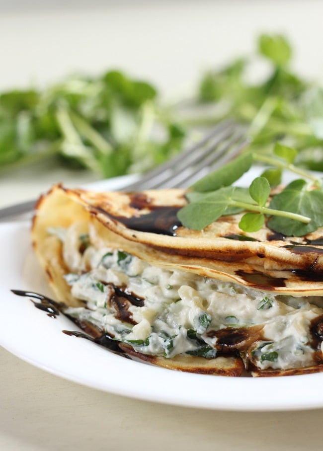 Creamy watercress stuffed crepes - amazing for brunch!