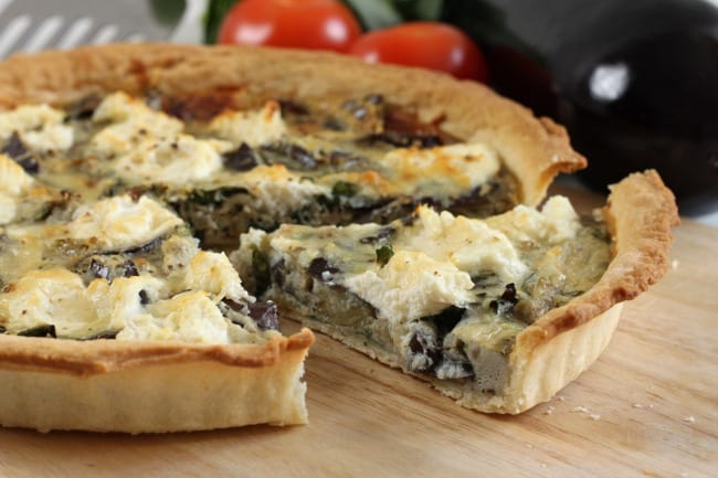 Roasted aubergine and ricotta tart - with roasted garlic, basil and parmesan! Awesome Italian flavours!