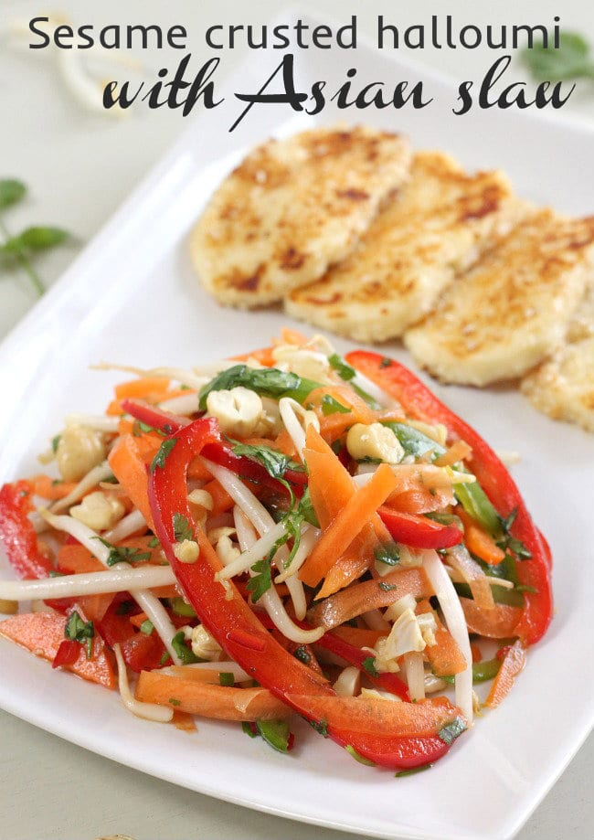 Sesame crusted halloumi with Asian slaw - the salty, creamy cheese with the crunchy, slightly sweet slaw was an amazing combination!