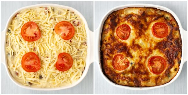 Before and after cooking a vegetable lasagne.
