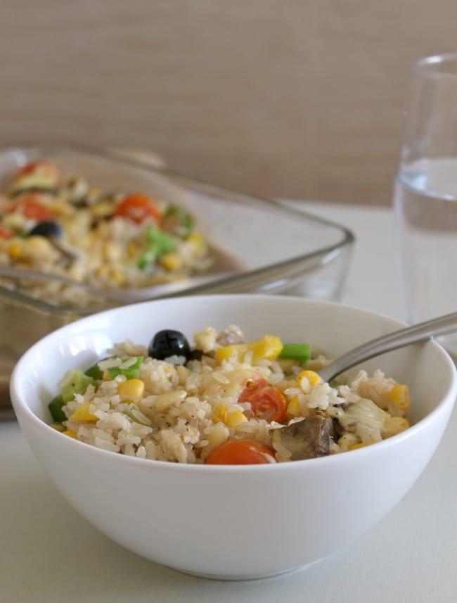 Cheesy vegetable rice bake