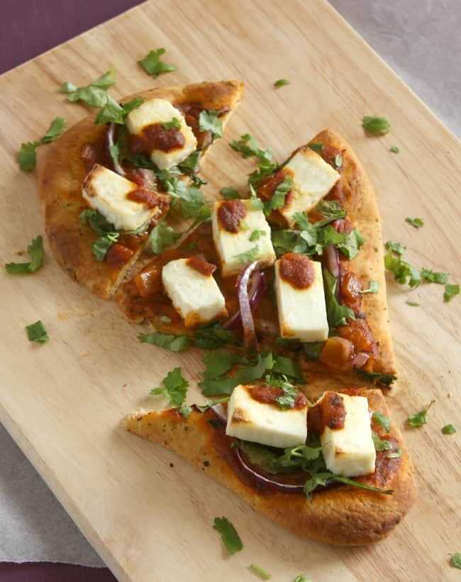 Indian style paneer pizza