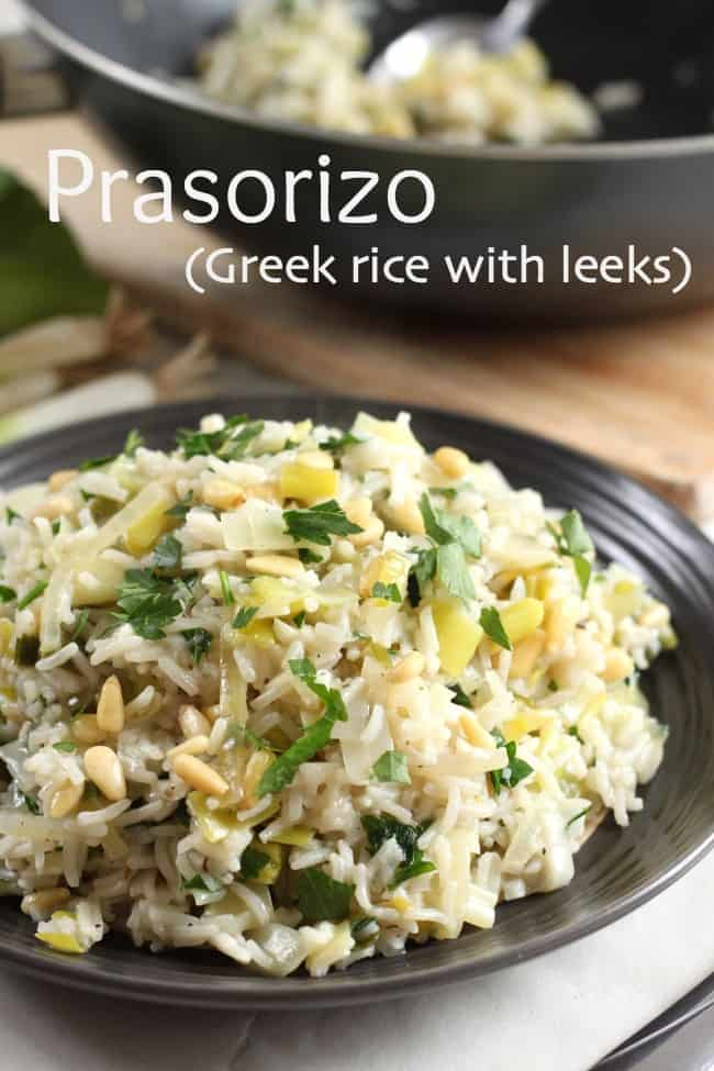 Prasorizo (Greek rice with leeks) - a really easy side dish for a Greek banquet!