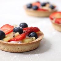 Summer fruit tarts with honeyed ricotta