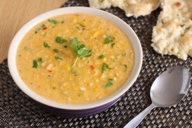 Creamy coconut corn chowder - slightly sweet, slightly spicy, completely delicious! (and vegan too!)