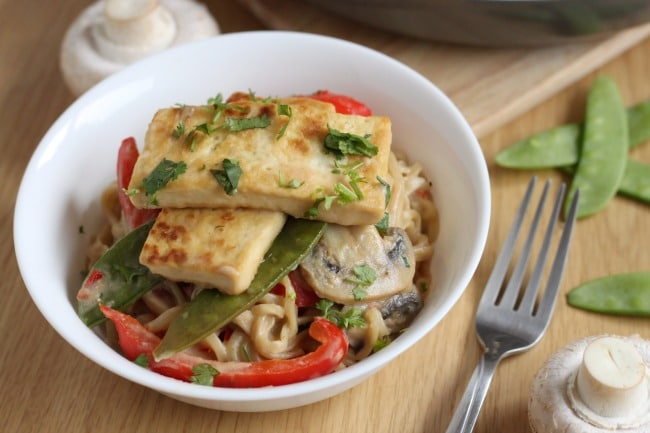 Peanut butter coconut tofu with noodles - an easy vegan dinner that's packed with peanut butter and coconut milk - so much flavour!