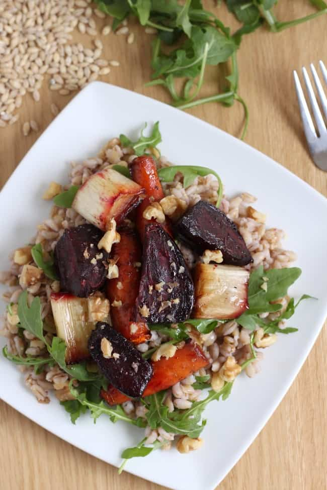 Pearl barley and roasted beetroot salad with maple balsamic dressing - these veg are gorgeously sticky!
