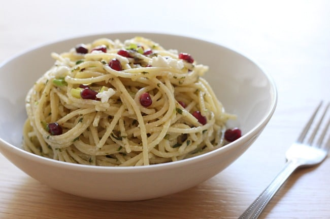 Pomegranate and goat's cheese pasta - the perfect combination of sweet, tangy and creamy with a real taste of luxury!