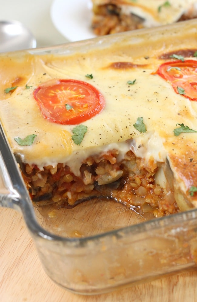 Vegetable moussaka casserole - a much quicker and easier way to make a gorgeous veggie moussaka!