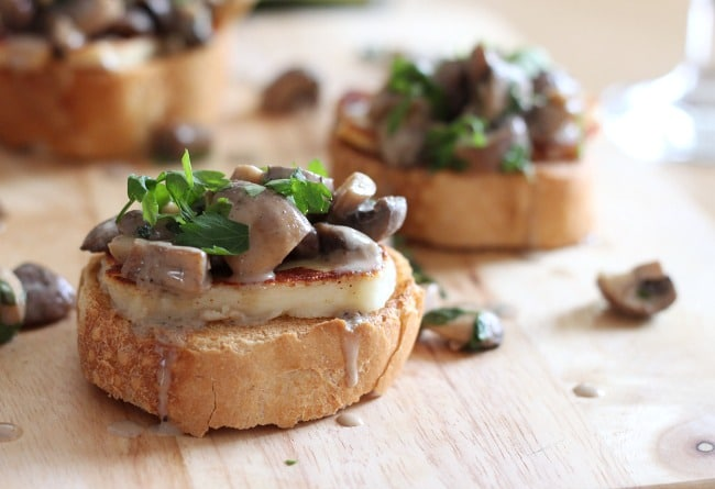 White Wine Mushroom Bruschetta with Halloumi | 10 Scrumptious Ways To Serve Halloumi Cheese This Winter Season