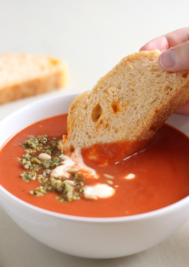 15 minute tomato soup with basil pine nut crumb - a more glamorous version of the classic!