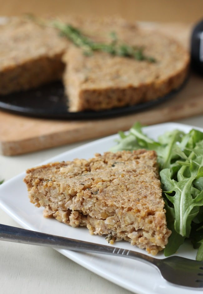 Cheesy chickpea cake. A slice of this makes a great lunch - or crumble it up over a salad