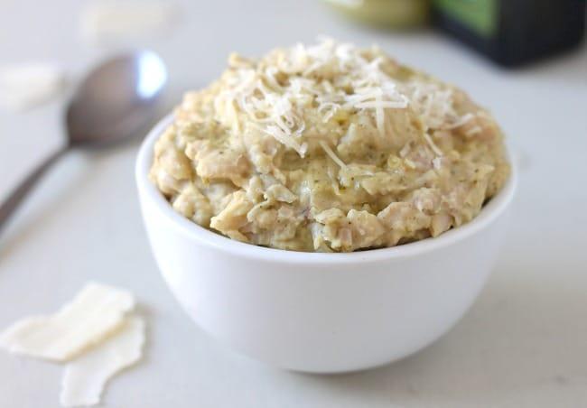 Cheesy pesto white bean mash - a protein-rich alternative to mashed potato that tastes incredible!