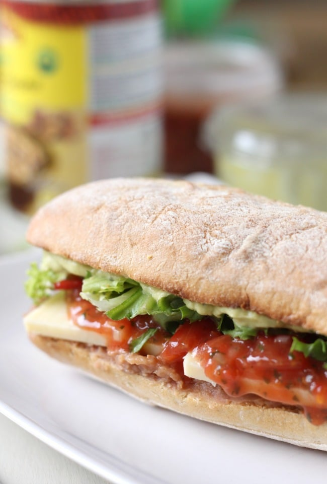 Mexican torta with refried beans and guacamole for Cama sandwich