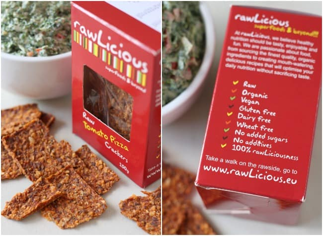 Rawlicious crackers - they're raw, vegan, and contain no dairy, wheat or gluten!!
