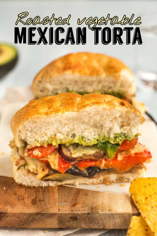 A vegetarian Mexican torta filled with roasted vegetables, cheese and avocado.