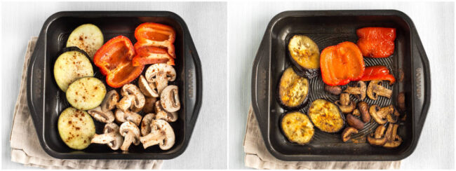 Roasted vegetables in a baking dish, before and after roasting.