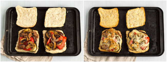 Cheesy roasted vegetable sandwiches before and after baking.