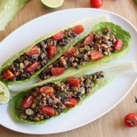Black bean and walnut taco-style lettuce wraps