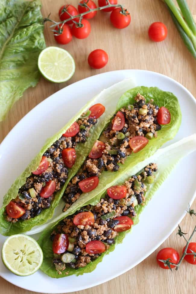 black bean and walnut taco style lettuce wraps. Black Bedroom Furniture Sets. Home Design Ideas