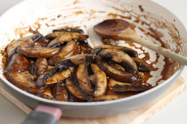 Portobello steak strips - full of dark, smoky flavour, and perfect to use in wraps and sandwiches instead of steak!