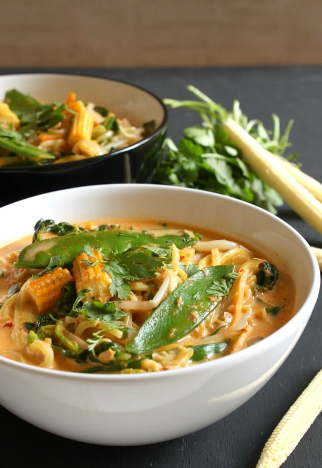 Quick red Thai curry noodle soup
