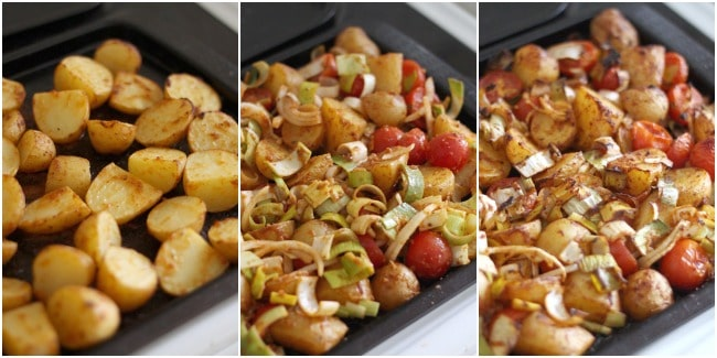 Roasted potato tikka masala - a super tasty side dish that's great hot or cold (with juicy roasted tomatoes, leeks and loads of fresh coriander!)